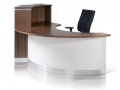 CT590.Crescent reception desk. Image shows the recessed modesty panel
